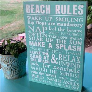 Barnyard designs Wall Art - Awesome Beach Rules wood box sign